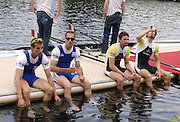 Lucerne, SWITZERLAND.  left to right, FRA LM2X, Maxime GOISSET, Frederic DUFOUR,  GBR LM2X, sitting left, Mark HUNTER and partner,  Zac PURCHASE, after GB they win, the Lightweight men's double Scull at the 2008 FISA World Cup Regatta, Round 2.  Lake Rotsee, on Sunday, 01/06/2008.  [Mandatory Credit:  Peter Spurrier/Intersport Images].Lucerne International Regatta. Rowing Course, Lake Rottsee, Lucerne, SWITZERLAND.
