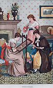 Activity for girls - Needlework. Print 1884.