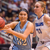 022814       Cable Hoover<br /> <br /> Window Rock Scout Naomie Klah (32) charges past Valley Christian Trojan Ashley Koch (33) Friday at the Jobing.com Arena in Phoenix.