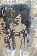woman in traditional kimono clothing casual portrait ca 1930s Japan