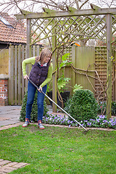 Repairing a bare patch of lawn by re-seeding