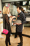 SOPHIE COBBOLD;ERIN O'CONNOR, Lulu Guinness And Rob Ryan Fan Bag - Launch Party. Air Gallery. London. 10 November 2010.  -DO NOT ARCHIVE-© Copyright Photograph by Dafydd Jones. 248 Clapham Rd. London SW9 0PZ. Tel 0207 820 0771. www.dafjones.com.