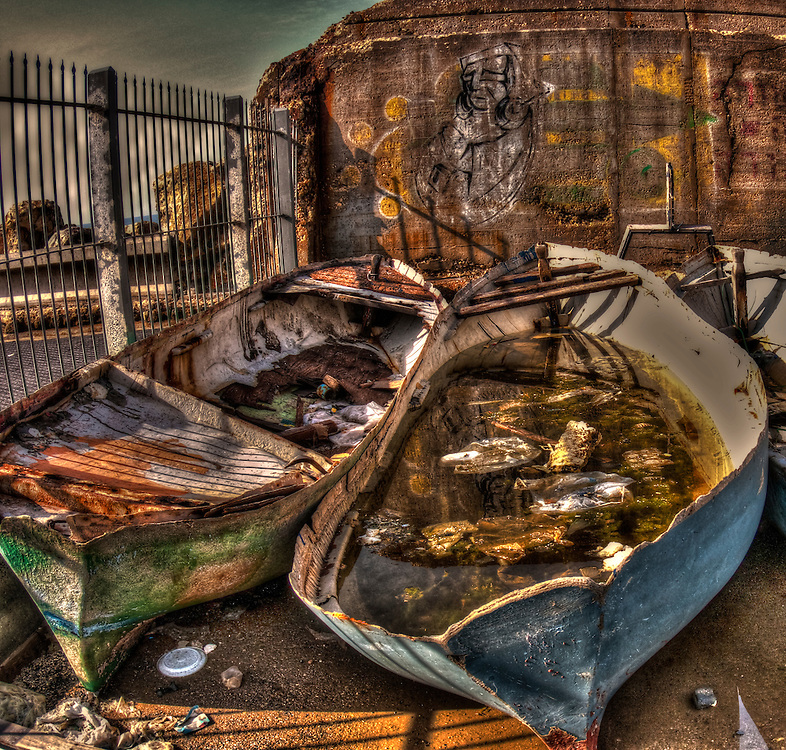 HDR image of old boats in Yafo