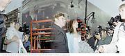 sir Elton John; Sam Taylor Wood Wrapped Selfridges. 2000, SamTaylorWood1. Sam Taylor -Wood Wrapped Selfridges. Selfridges, Oxford St. London. 8/5/2000.<br /> © Copyright Photograph by Dafydd Jones 66 Stockwell Park Rd. London SW9 0DA Tel 020 7733 0108 www.dafjones.com
