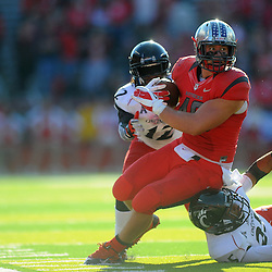 Fullback Michael Burton #46 of Rutgers runs after a catch during American Athletic Conference Football action between Rutgers and Cincinnati on Nov. 16, 2013 at High Point Solutions Stadium in Piscataway, New Jersey.