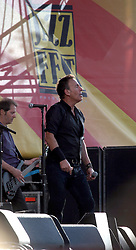 29 April 2012. New Orleans, Louisiana,  USA. <br /> New Orleans Jazz and Heritage Festival. <br /> Bruce Springsteen takes to the Acura stage.<br /> Photo; Charlie Varley/varleypix.com