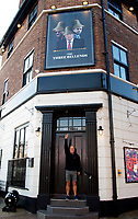 The James Atherton in New Brighton, The Wirral, rebranded to The Three Bellends, temporarily after new coronavirus restrictions on the Liverpool region to mock the three tier rules and Matt Hancock, Boris Johnson, Dominic Cummings,