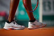 Nike Court shoe illustration of Sloane STEPHENS (USA) at service during the Roland Garros French Tennis Open 2018, day 12, on June 7, 2018, at the Roland Garros Stadium in Paris, France - Photo Stephane Allaman / ProSportsImages / DPPI