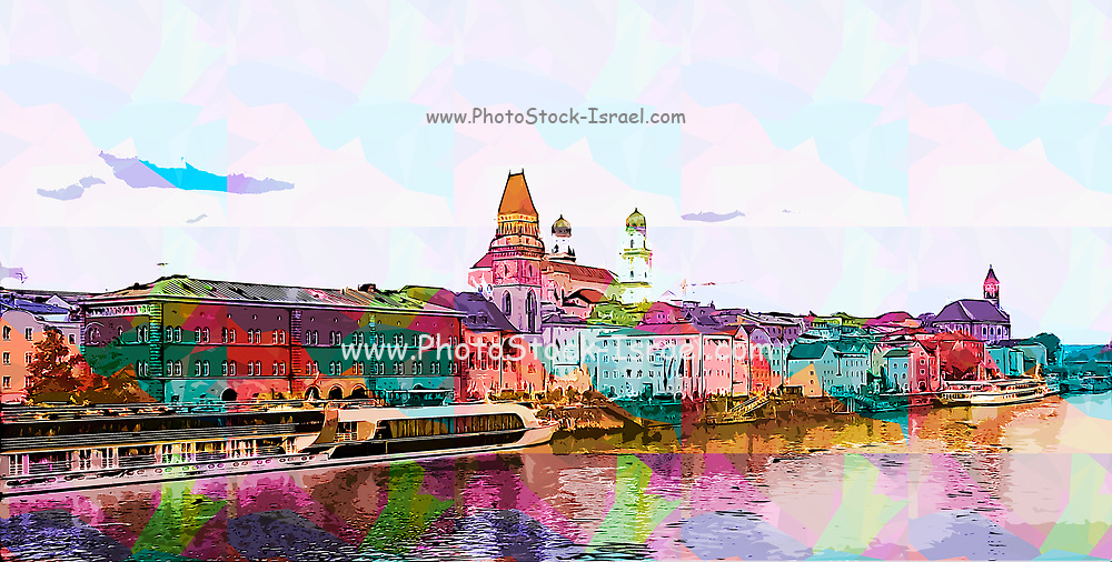 Digitally enhanced image of the Cityscape of Passau, Bavaria, Germany. The Danube river in the foreground