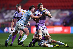 Jonny Hill of Exeter Chiefs is challenged by Wenceslas Lauret of Racing 92 - Mandatory by-line: Ryan Hiscott/JMP - 17/10/2020 - RUGBY - Ashton Gate Stadium - Bristol, England - Exeter Chiefs v Racing 92 - Heineken Champions Cup Final