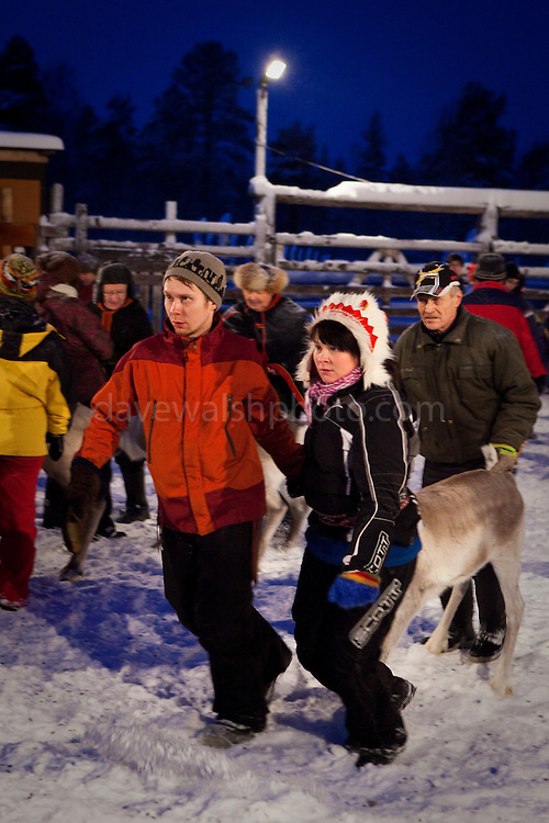 Matti Aiko, left, leads a reindeer to the side of the coral at a reindeer roundup at Vuomaselkä, Lapland, where semi-domesticated deer are sorted and seperated for breeding, slaughter, returned to their owners, injected for parasites, or released back into the forest.