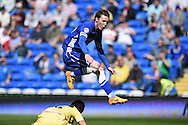 Joe Mason of Cardiff city in action. Skybet football league championship, Cardiff city v Millwall at the Cardiff city stadium in Cardiff, South Wales on Saturday 18th April 2015<br /> pic by Andrew Orchard, Andrew Orchard sports photography.