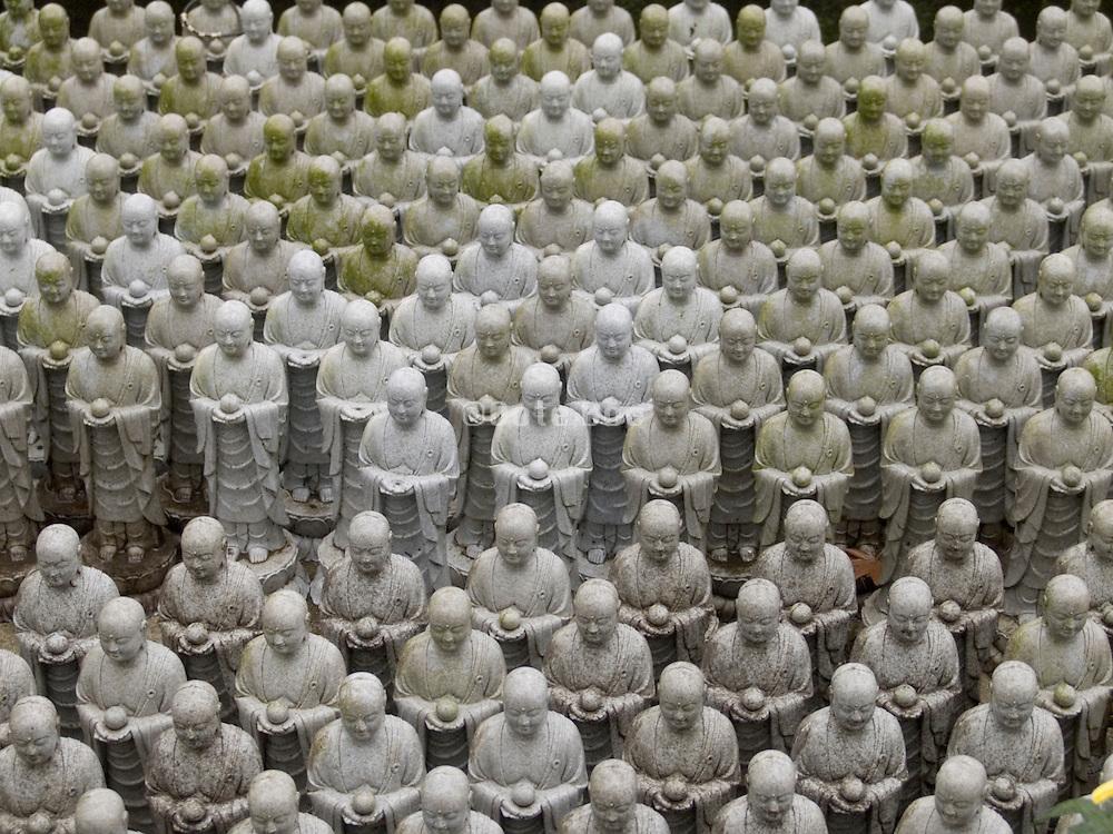 close up of Jizo figurines
