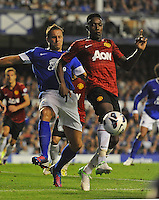 Manchester United's Danny Welbeck shields the ball from Everton's Phil Jagielka ..Football - Barclays Premiership - Everton v Manchester United - Monday August 20th 2012 - Goodison Park - Liverpool..