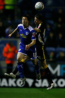 Photo: Steve Bond.<br />Leicester City v Cardiff City. Coca Cola Championship. 26/11/2007. Matty fryatt (L) tries to get the ball in the air agains  Chris Gunter (R)