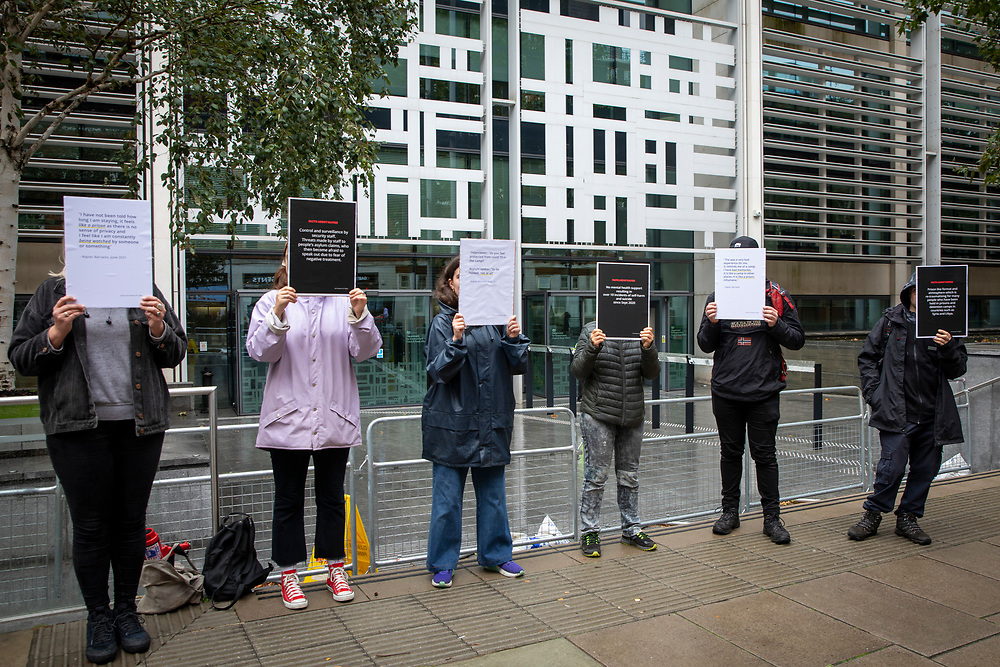Campaigners hold up placards for a Close Napier Barracks demonstration outside the Home Office headquarters on Marsham street, London, United Kingdom on the 28th September 2021. Napier Barracks has been used by the Home Office to house Asylum seekers for a year now. Close the Camps organised a solidarity demo for the people in Napier Barracks, there have been numerous calls for the camp to close as the facilities have been deemed unsafe for habitation and unfit for purpose. (photo by Andrew Aitchison / In Pictures via Getty Images)