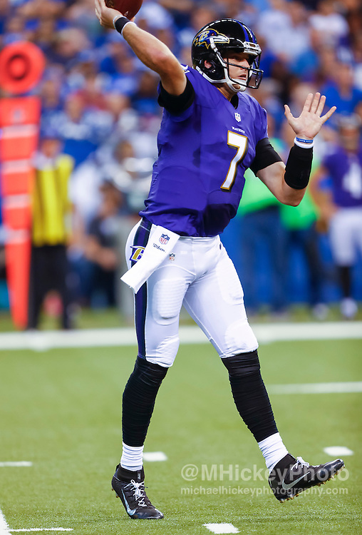 INDIANAPOLIS, IN - AUGUST 20: Ryan Mallett #8 of the Baltimore Ravens passes the ball against the Indianapolis Coltsat Lucas Oil Stadium on August 20, 2016 in Indianapolis, Indiana.  (Photo by Michael Hickey/Getty Images) *** Local Caption *** Ryan Mallett