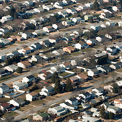 Aerial view of middle america neighborhood housing development DRONE VIEW OF HOUSES
