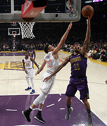 January 4, 2019 - Los Angeles, California, U.S - Los Angeles LakersÃ• Michael Beasley (11) goes to basket while defended by New York Knicks' Kevin Knox (20) during an NBA basketball game between Los Angeles Lakers and New York Knicks on Friday, Jan. 4, 2019, in Los Angeles. (Credit Image: © Ringo Chiu/ZUMA Wire)