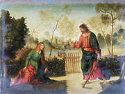 Noli me Tangere'. Christ appearing to Mary Magdalene after rising from the tomb. Giovanni Dossi called Dosso  (1479-1542) Italian painter. Oil on wood.