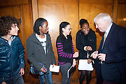 ADEL LOUDII; SIA NDOMAINA; ROWAN SWAINSON; BETSY UCHENDU; LORD PATTEN, First Story annual celebration event, Holland Park School, London. 15 November 2010. -DO NOT ARCHIVE-© Copyright Photograph by Dafydd Jones. 248 Clapham Rd. London SW9 0PZ. Tel 0207 820 0771. www.dafjones.com.