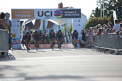 CANYON//SRAM Racing rolls off the start ramp of the Crescent Vargarda - a 42.5 km team time trial, starting and finishing in Vargarda on August 11, 2017, in Vastra Gotaland, Sweden. (Photo by Balint Hamvas/Velofocus.com)