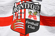 a Brentford flag pre kick off. Skybet football league championship match, Brentford  v Fulham at Griffin Park in London on Saturday 30th April 2016.<br /> pic by Steffan Bowen, Andrew Orchard sports photography.