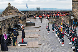 Installation of Edinburgh Castle Govenor, Edinburgh Castle, Edinburgh, Scotland, United Kingdom 23  June 2021: <br /> Installation as Governor of Edinburgh Castle: the dress rehearsal takes place for the ceremony which will be held tomorrow, two years after the handover of the position to Maj Gen Alastair Bruce of Crionaich.  The ceremony was delayed due to Covid-19. The role of Governor is a historic one, dating back to 1067. Maj Gen Bruce is also a Sky News commentator. Representative form all Scottish military regiments are involved, in a ceremony that takes a new curtailed form only within the castle due to Covid restrictions. Pictured: the new Governor inspects the troops. Sally Anderson | EdinburghElitemedia.co.uk