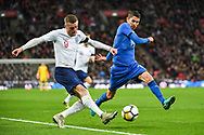 England Forward Jamie Vardy (9) and Italy Midfielder Jorge Luiz Jorginho (14) in action during the Friendly match between England and Italy at Wembley Stadium, London, England on 27 March 2018. Picture by Stephen Wright.