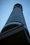 The BT Tower, a tall cylindrical building in central London. Opened in 1965 by Harold Wilson the Prime Minister at the time. Formerly know as Post Office Tower.