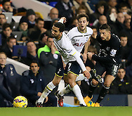 Tottenham's Aaron Lennon and Ryan Mason tussle with Everton's Kevin Mirallas<br /> <br /> Barclays Premier League- Tottenham Hotspur vs Everton - White Hart Lane - England - 30th November 2014 - Picture David Klein/Sportimage