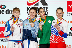 November 10, 2018 - Madrid, Madrid, Spain - Zaretska Irina (AZE) win the gold medal and win the tournament, Isaeva Victoria (RUS) win the silver medal and the second place of the tournamen, Matoub Lamya (ALG) and Kopunova Miroslava (SVK)  win the bronce medal and the third place of the of Female Kumite -68 Kg during the Finals of Karate World Championship celebrates in Wizink Center, Madrid, Spain, on November 10th, 2018. (Credit Image: © AFP7 via ZUMA Wire)