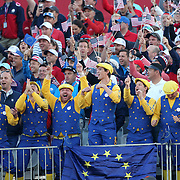 Ryder Cup 2016. Day Two. Europe fans entertaining the crowd at the first tee during the Ryder Cup at the Hazeltine National Golf Club on October 01, 2016 in Chaska, Minnesota.  (Photo by Tim Clayton/Corbis via Getty Images)
