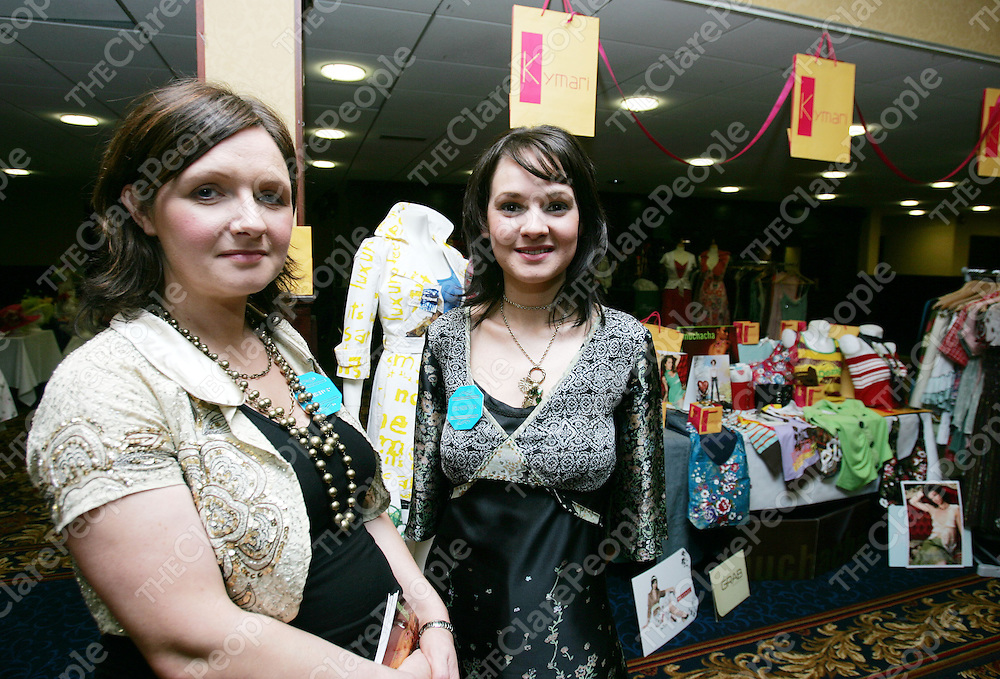 Marie Keane (left) and Yvonne Kelly of KYMARI Ennis pictured at the Clare People sponsored fashion show in the West County Ennis on Wednesday evening.Pic Arthur Ellis/Press 22.
