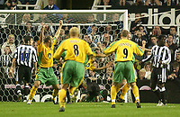 Photo. Glyn Thomas. <br /> Newcastle United v Norwich City. Barclays Premiership.<br /> 25/08/2004.<br /> Norwich celebrate in delight as Gary Doherty's strike goes past Shay Given (C) but Newcastle's Olivier Bernard (R) and Aaron Hughes (L) cannot believe what has happened