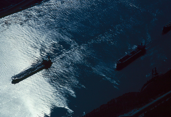 Aerial view of two tankers travelling through the Port of Houston