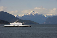 BC Ferries queen of Capilano with Sunshine Coast Mountains behind HorseShoe Bay Vancouver British Columbia Canada