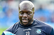 Wycombe Wanderers striker Adebayo Akinfenwa (20) sweats during the EFL Sky Bet League 1 match between Wycombe Wanderers and Oxford United at Adams Park, High Wycombe, England on 15 September 2018.
