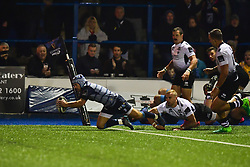 Matthew Morgan of Cardiff Blues scores his sides fourth try - Mandatory by-line: Craig Thomas/JMP - 04/11/2017 - RUGBY - BT Sport Cardiff Arms Park - Cardiff, Wales - Cardiff Blues v Zebre Rugby Club - Guinness Pro 14