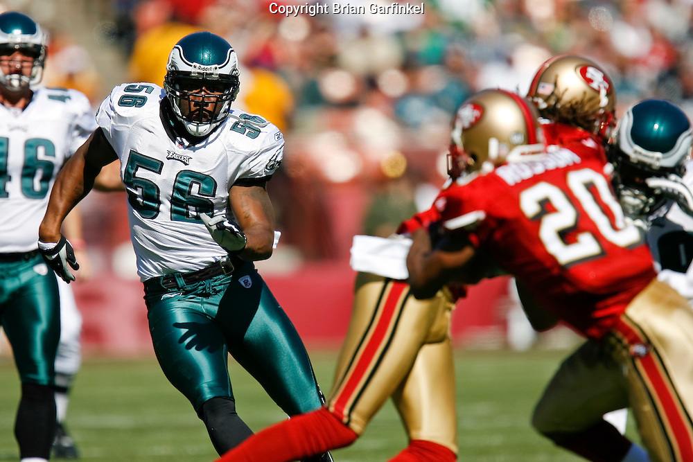 12 Oct 2008: Philadelphia Eagles linebacker Akeem Jordan #56 during the game against the San Francisco 49ers on October 12th, 2008. The Eagles won 40-26 at Candlestick Park in San Francisco, California.