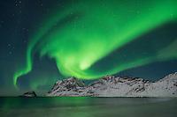 Aurora Borealis - Northern Lights shine in sky over snow covered mountains from Vik beach, Vestvågøy, Lofoten Islands, Norway