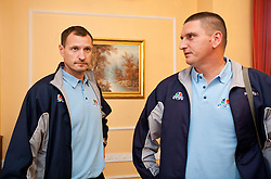 Head coach Rado Trifunovic and his assistant Predrag Radovic during press conference of basketball team KK Helios Domzale before new season 2010-2011, on September 27, 2010 in Domzale, Slovenia. (Photo By Vid Ponikvar / Sportida.com)