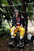 Ecuador, May 9 2010: Huaorani man poses for camera. Copyright 2010 Peter Horrell