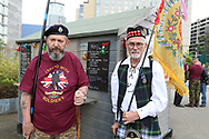 Two ex Veterans during the Soldier F Protest at Media City, Salford, United Kingdom on 18 May 2019.