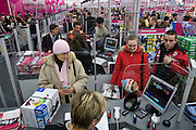 Moscow, Russia, 02/12/2006.&#xA;Queues of customers on the first day of trading at the first Moscow branch of the German owned Media Markt electronics store. Media Markt is the largest consumer electronics retailer in Europe, and the store opened at 7.00 am to cope with anticipated demand.<br />