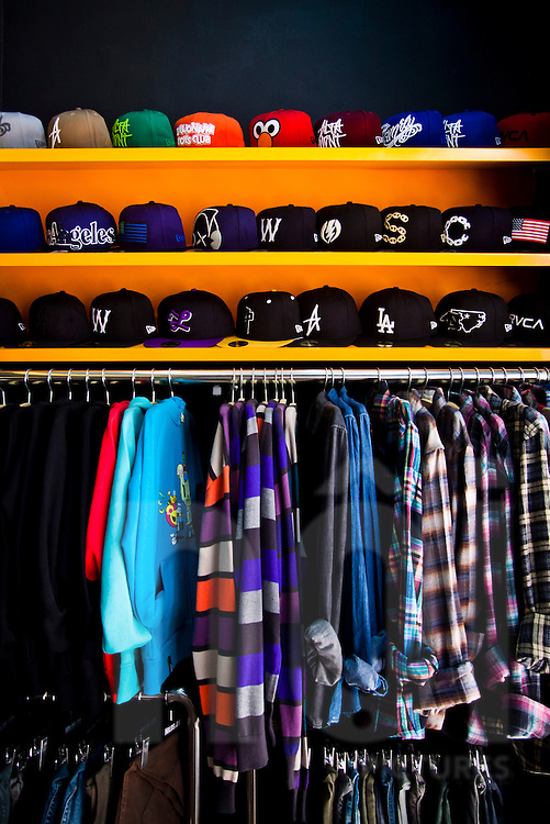 Skateboarding apparel and accessories for sale at a shop in Hanoi's old quarter, Vietnam, Asia