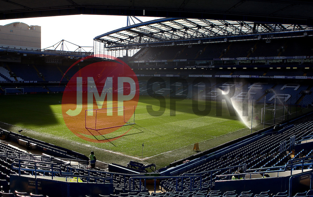Stamford Bridge is prepared before the FA Cup match with Scunthorpe United - Mandatory byline: Robbie Stephenson/JMP - 10/01/2016 - FOOTBALL - Stamford Bridge - London, England - Chelsea v Scunthrope United - FA Cup Third Round