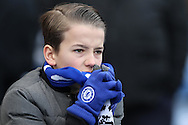 a Young Chelsea fan looking nervous as both teams enter the pitch before k/o. Barclays Premier league match, Chelsea v Stoke city at Stamford Bridge in London on Saturday 5th March 2016.<br /> pic by John Patrick Fletcher, Andrew Orchard sports photography.