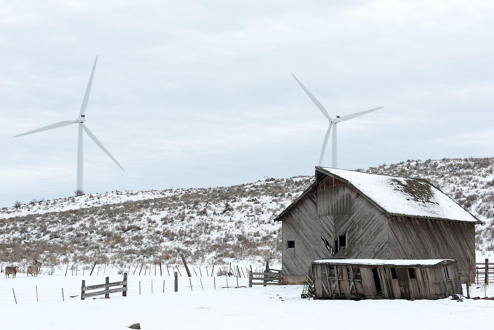 Ranch and wind farm in Northeast Oregon.