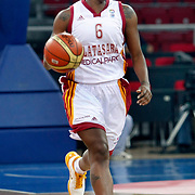 Galatasaray's Donneka HODGES during their woman Euroleague group C matchday 9 Galatasaray between Halcon Avenida at the Abdi Ipekci Arena in Istanbul at Turkey on Wednesday, January 12 2011. Photo by TURKPIX